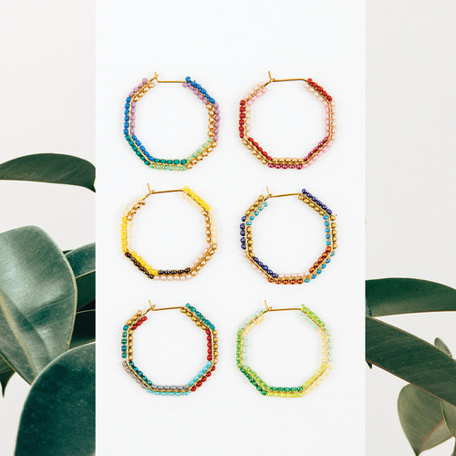 Small Beaded Hex Earring
