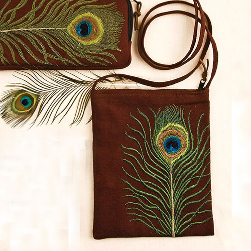 Peacock Feather Passport Bag