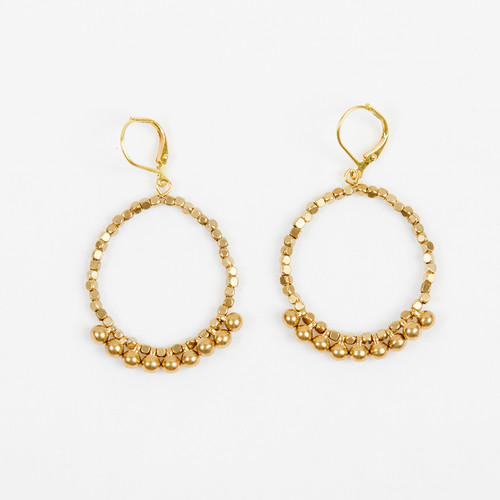 Faceted Ball Hoop Earring