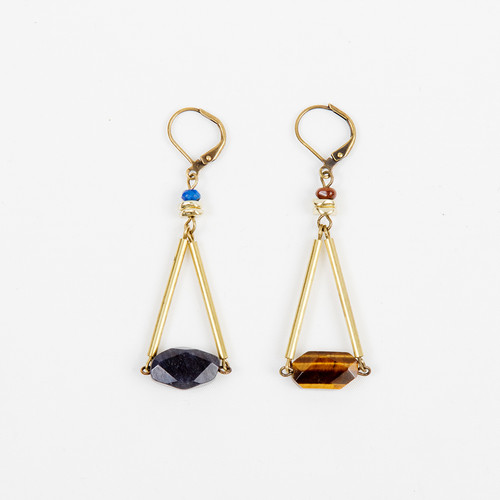 Faceted Stone Triangle Dangle Earring