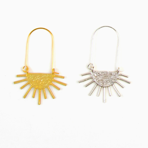 Sun Ray Long Hoop Earrings