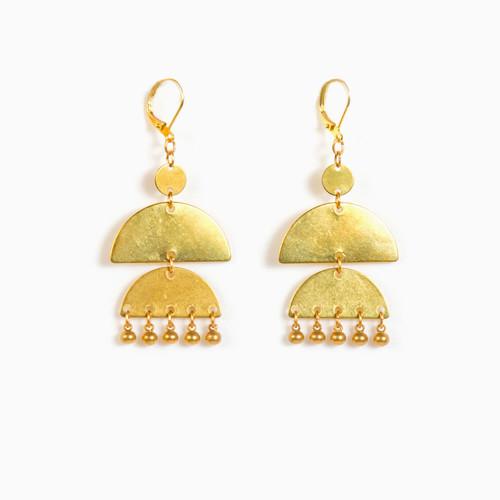Double Half Moon Dangle Earrings