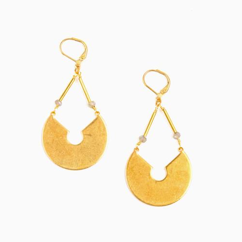 Labradorite Keyhole Earrings