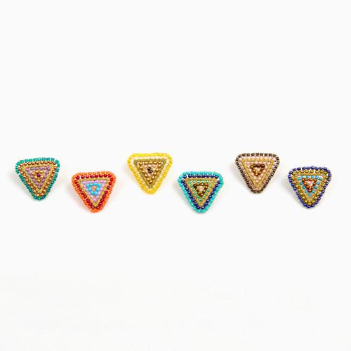 Beaded Triangle Post Earrings