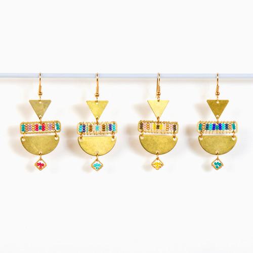 Geometric Beaded Brass Earring