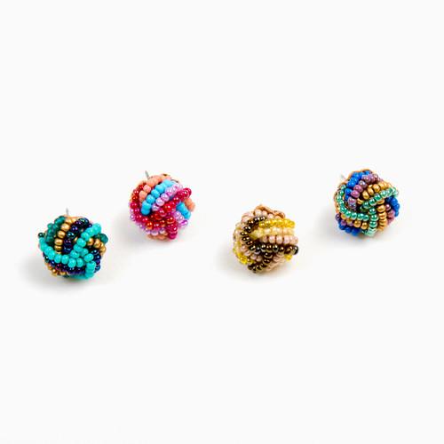 Beaded Button Post Earrings