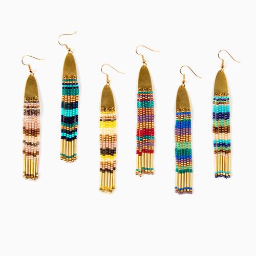 Brass Ellipse Fringe Earrings