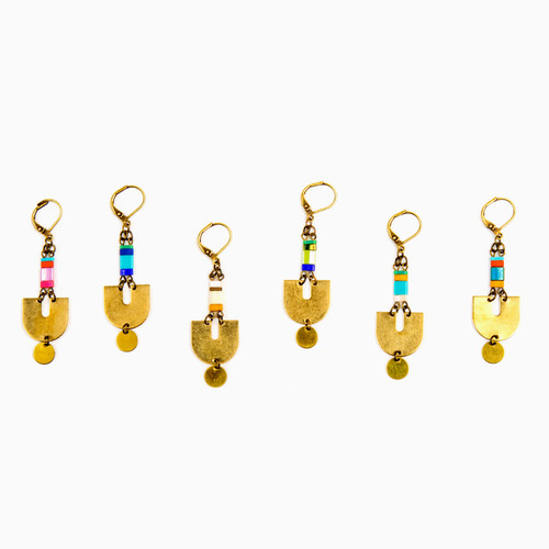 Miyuke & Brass Graphic Earrings