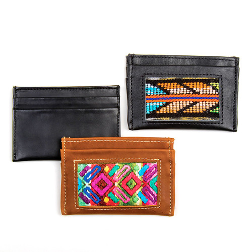 Leather & Huipile Card Wallet