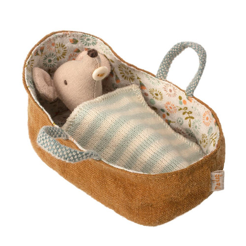 Maileg Baby Mouse in Bassinet