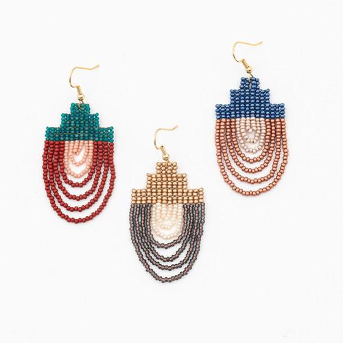 Mayan Pyramid Beaded Earrings