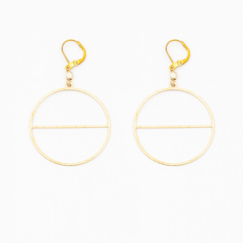 Textured Circle with Horizon Earrings