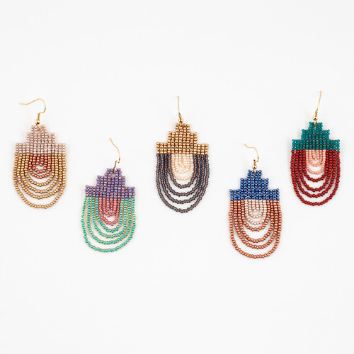 Mayan Pyramid Beaded Earring