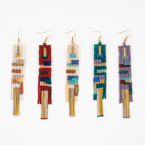 Cuadras Beaded Brass Earrings