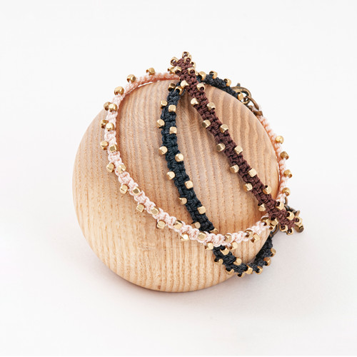 Macrame Brass Cube Bracelet