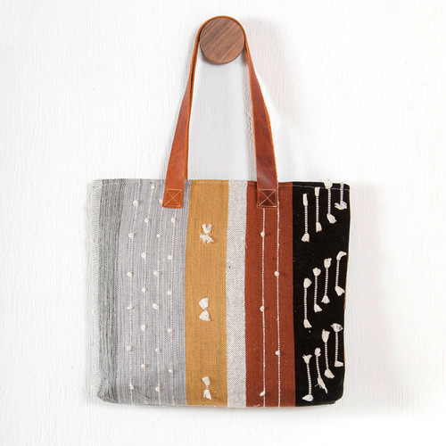 Earth Tone Handwoven Textured Tote
