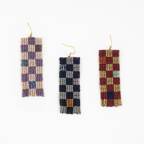 Checkerboard Beaded Earrings