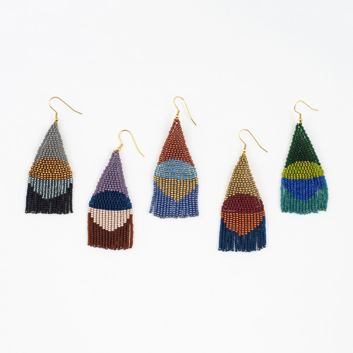Beaded Circle Fringe Earrings