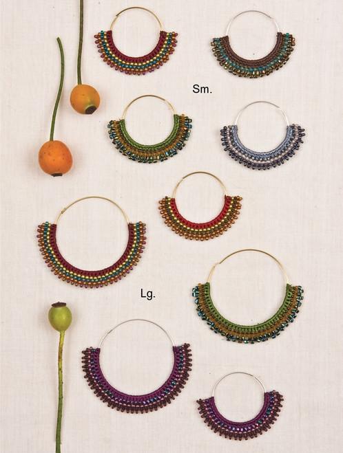 Beaded Hoop Earrings with Crocheted Skirt