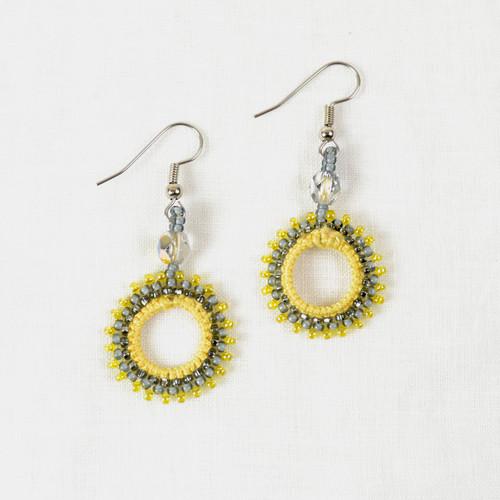 Small Crocheted Bead Hoop Earrings