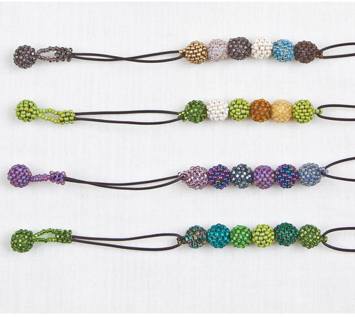 Beaded Ball & Leather Necklace