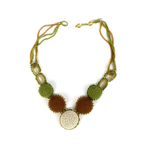 Beaded Glass Button Necklace