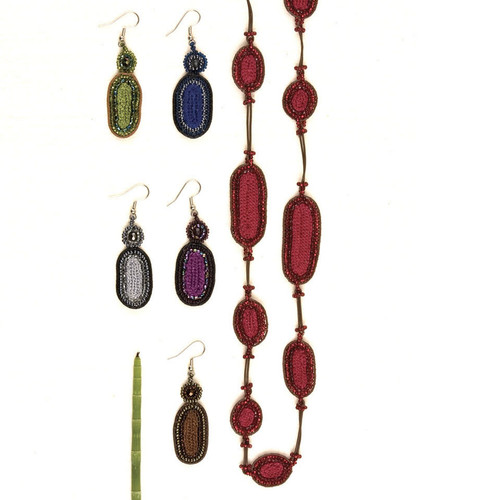 Leather & Glass Earrings and Necklace