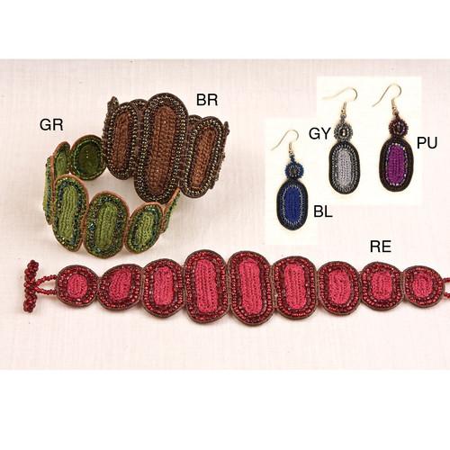 Leather & Glass Bracelet