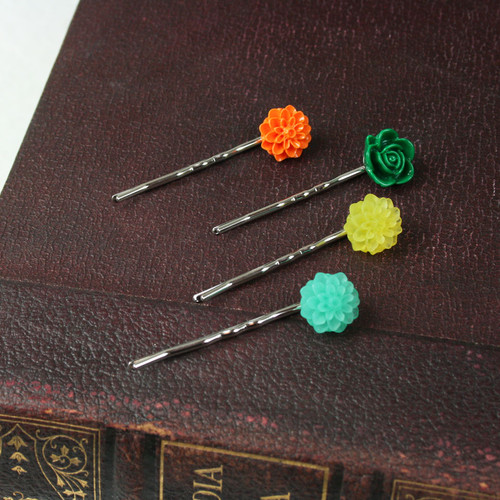Resin Flower Bobby Pin