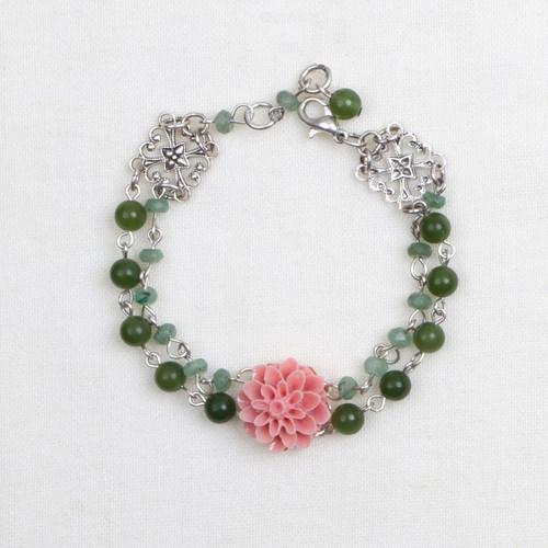 Resin Flower and Stone Bracelet