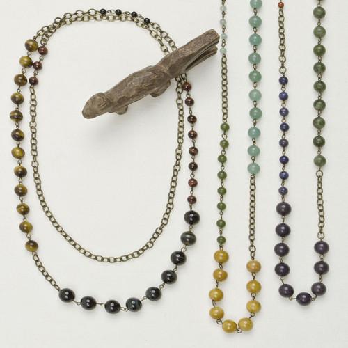Long Stone Colorblock Necklace