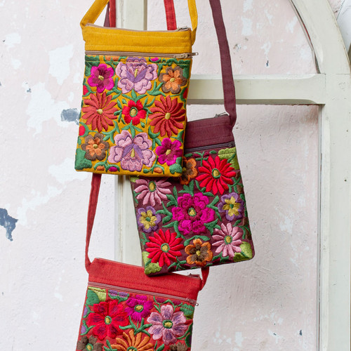 Embroidered Floral Passport Bag