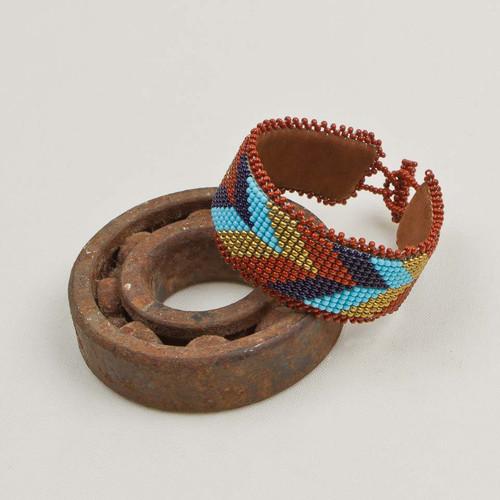 Leather Backed Beaded Bracelet