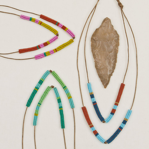 V-Tube Bead & Leather Necklace