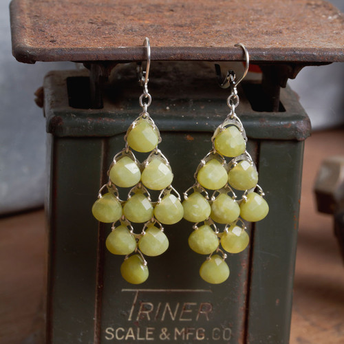 Stone Briolet Chandelier Earrings