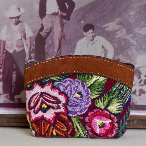 Leather & Huipile Change Purse
