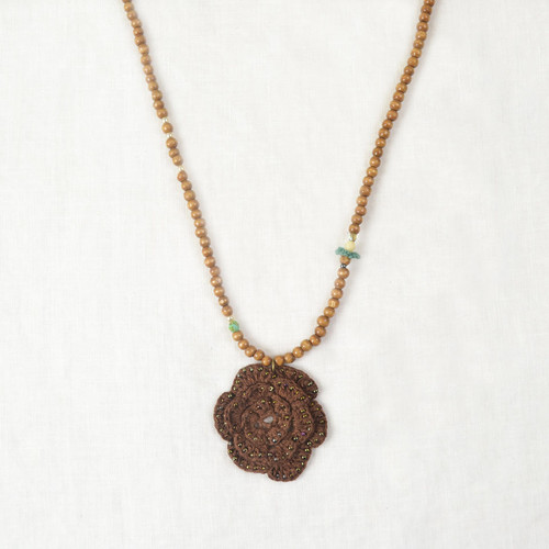 Crochet Rose Mixed Media Necklace*