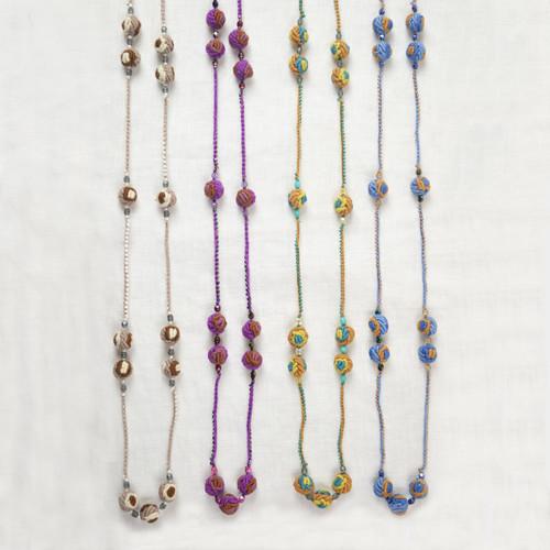 Crochet Rosebud Long Necklace