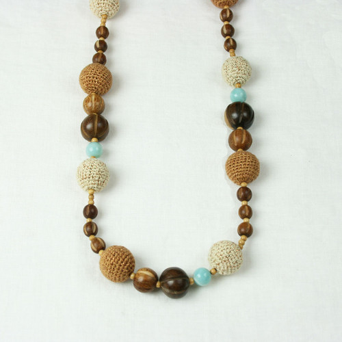 Long Crochet Wood & Stone Necklace*