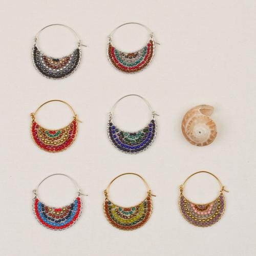 Crescent Moon Wire Hoop Earrings