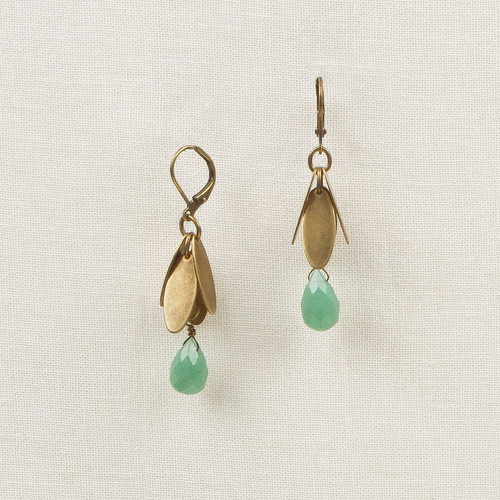 Metal Leaves with Stone Drop Earrings