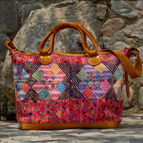 Leather & Geometric Huipile Daybag