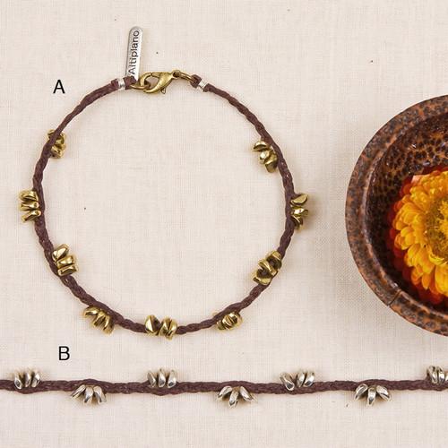 Linen and Metal Bracelet
