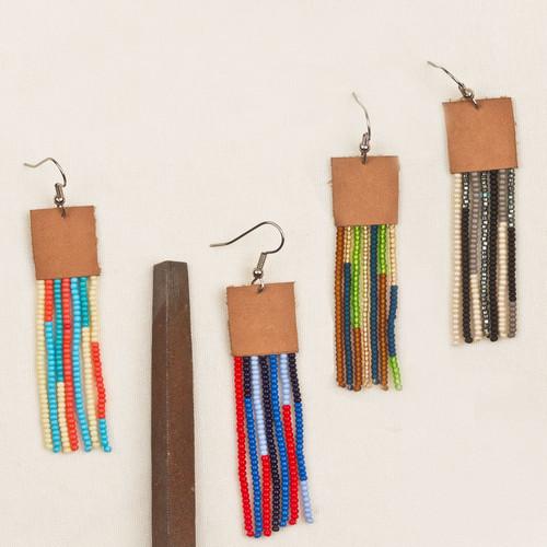 Beaded Leather Top Fringe Earrings