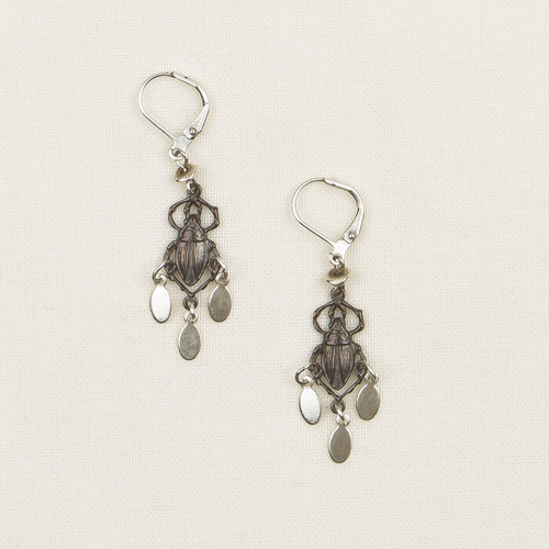 Scarab with Dangles Earrings