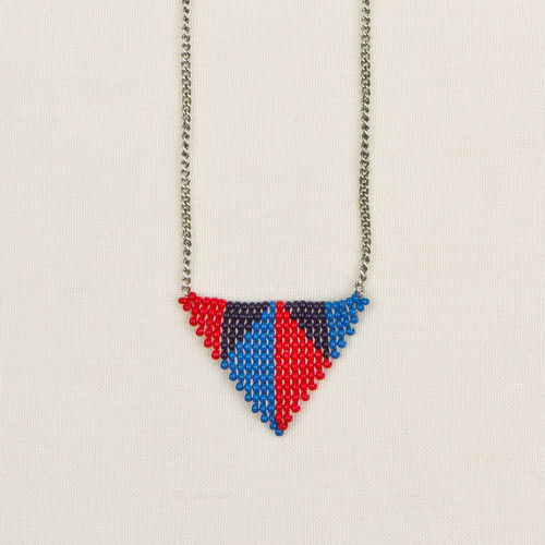 Beaded Triangles Pendant Necklace