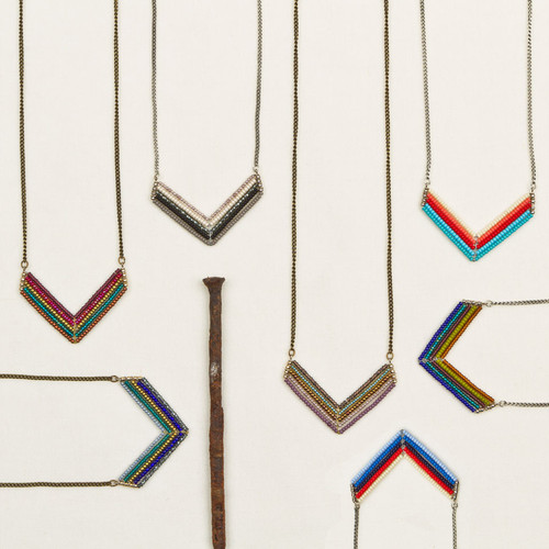 Beaded Short Chevron Necklace