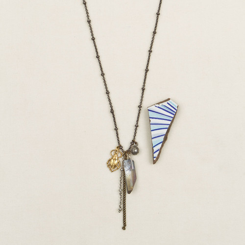 Crystal & Scarab Dangle Necklace*