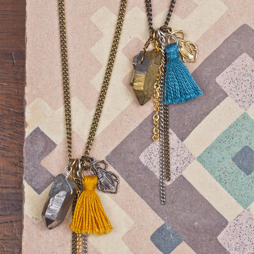 Long Crystal & Tassel Necklace
