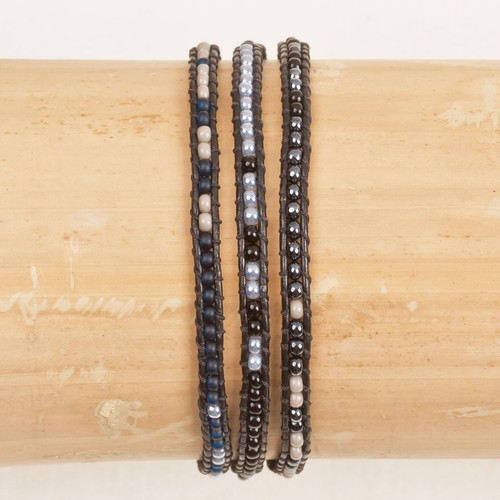 Triple Wrap Leather & Bead Bracelet